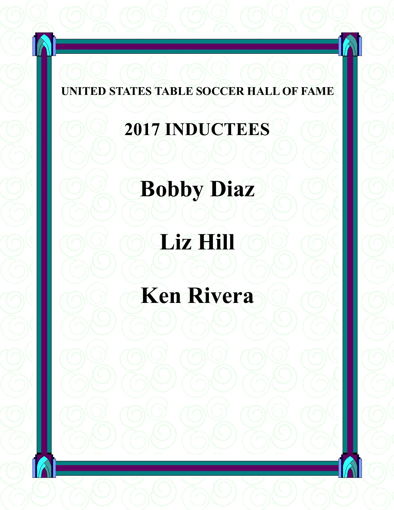 The 2017 Foosball Hall Of Fame Inductees